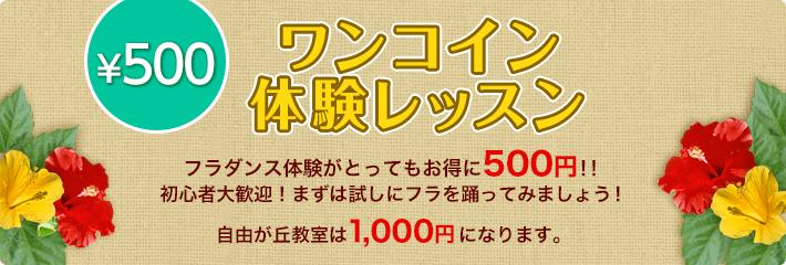 ワンコイン体験レッスン。 フラダンス体験がとってもお得に500円!!初心者大歓迎!まずは試しにフラを踊ってみましょう! 自由が丘教室は1,000円になります。
